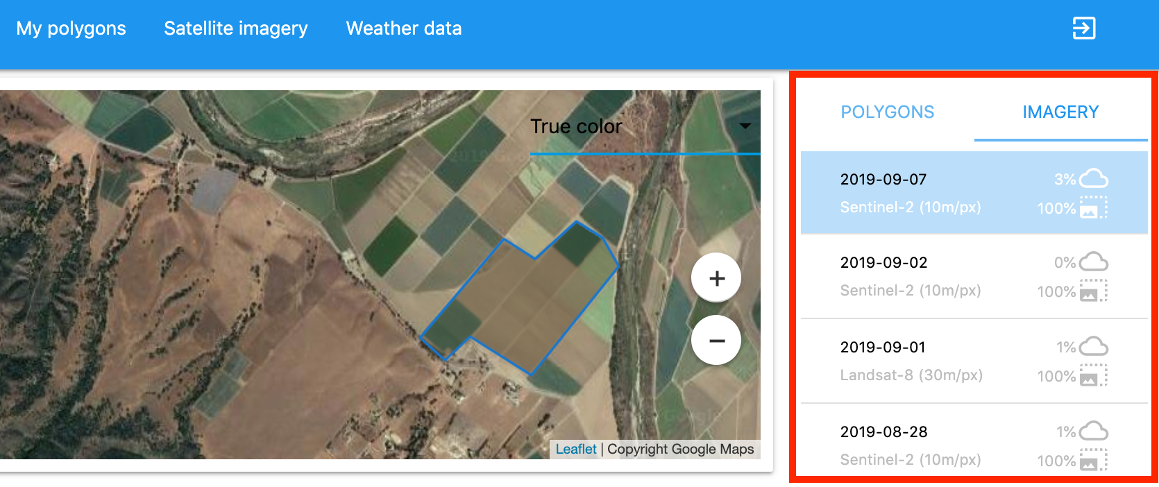 Agriculture API Dashboard: Get satellite data for polygon
